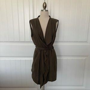 Zara Draped Front Army Green Vest